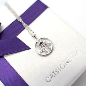 CatstoneNYC Silver Plated EvilEye Pendant Necklace